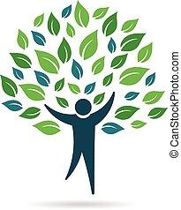 logo, unique, arbre, gens