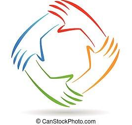 logo, unité, collaboration, mains