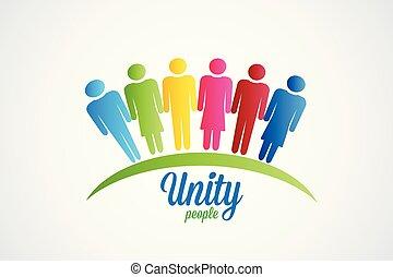logo, unité, vecteur, heureux, gens