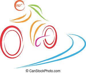 logo, vélo, cyclisme