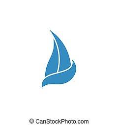 logo, vagues, conception, voile, bleu, mouvement, bateau, vecteur, symbole