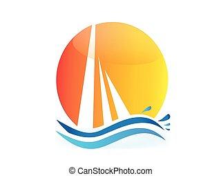 logo, vagues, vecteur, soleil, bateau