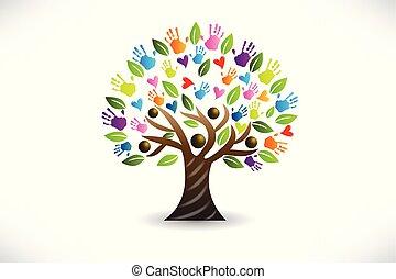logo, vecteur, arbre, cœurs, mains