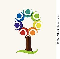 logo, vecteur, arbre, coloré
