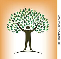 logo, vecteur, arbre, gens