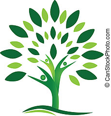 logo, vecteur, arbre, gens, collaboration