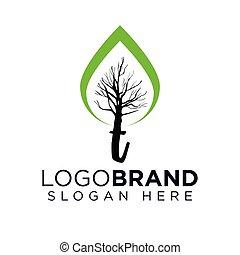 logo, vecteur, arbre, t, lettre