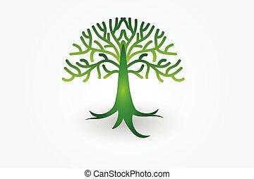 logo, vecteur, arbre, vie
