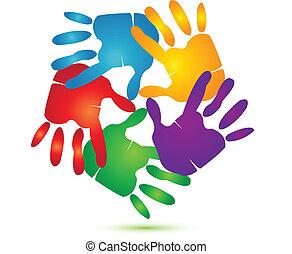 logo, vecteur, autour de, mains