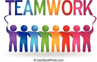 logo, vecteur, collaboration, gens, associé