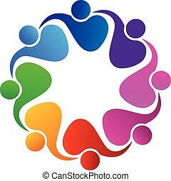 logo, vecteur, collaboration, gens