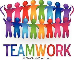 logo, vecteur, collaboration, gens, réunion