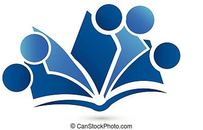 logo, vecteur, collaboration, livre
