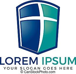 logo, vecteur, conception, croix, template.