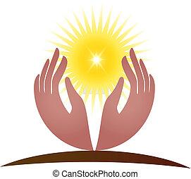 logo, vecteur, espoir, lumière soleil, mains