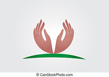 logo, vecteur, espoir, mains