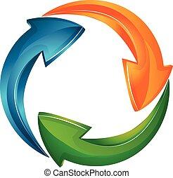 logo, vecteur, flèches, business