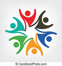 logo, vecteur, gens, heureux, équipe