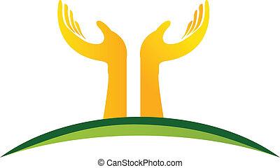 logo, vecteur, mains