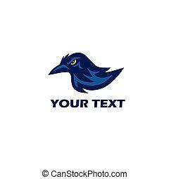 logo, vecteur, mascotte, corbeau
