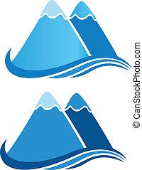 logo, vecteur, montagnes