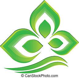 logo, vecteur, plante verte