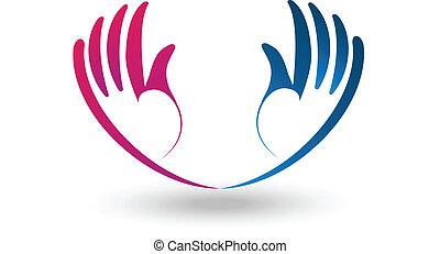 logo, vecteur, plein d'espoir, mains