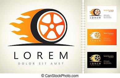 logo, vecteur, roue, flamme, brûler