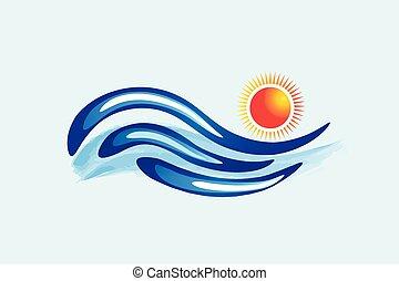 logo, vecteur, vagues, soleil