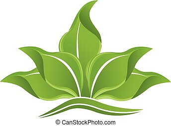 logo, vert, pousse feuilles