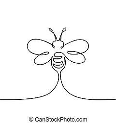 logo, voler, abeille