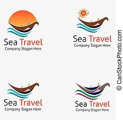 logo, voyage, mer, bateau