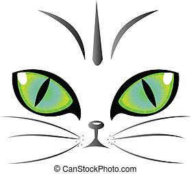 logo, yeux, vecteur, chat
