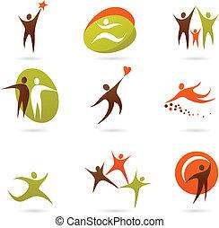 logos, 16, résumé, gens, -, collection
