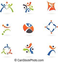 logos, 2, humain, icônes