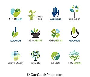 logos, alternative, concept, chinois, wellness, yoga, -, vecteur, icônes, médecine, méditation, zen