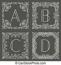 logos, capital, sombre, géométrique, monogram, gris, arrière-plan., floral, ensemble, vecteur, lettre, conception, element.