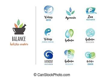 logos, concept, wellness, zen, -, aquarelle, vecteur, icônes, yoga, médecine, alternative, méditation