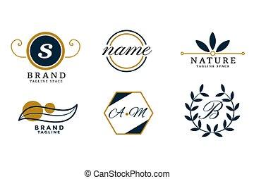 logos, conception, ensemble, mariage, monogram, nature, style