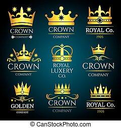 logos, ensemble, bijoux, vendange, boutique, couronne, vecteur, luxe, monogram