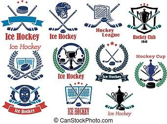 logos, ensemble, glace, symboles, hockey, emblèmes