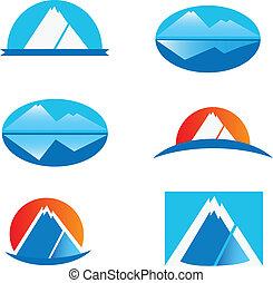 logos, ensemble, six, montagne