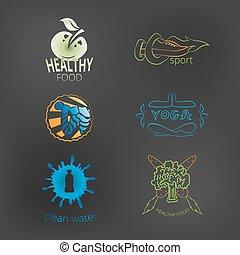 logos, ensemble, style de vie, sain, cle, nourriture, fitness, yoga