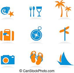 logos, icônes, -, vacances, 2, tourisme