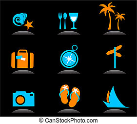 logos, icônes, -, vacances, 3, tourisme