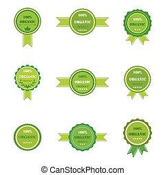 logos, produit, ensemble, organique