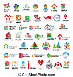 logos, vecteur, collection, amélioration, construction, maison