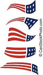 logos., voler, drapeau américain, vecteur, conception
