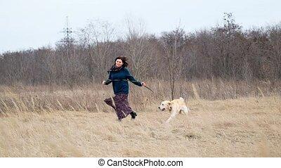 loin, courant, chien, femme