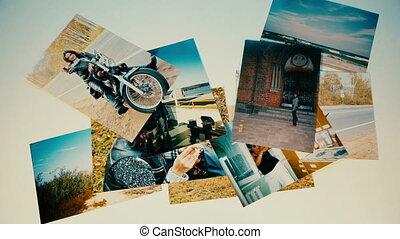 loin, mémoires, concept., voler, photos, lot, média, images, social
